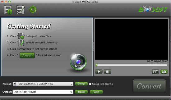 Brorsoft MTS/M2TS Converter for Mac Screenshot 1