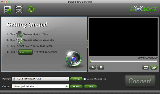 Brorsoft TOD Converter for Mac Screenshot