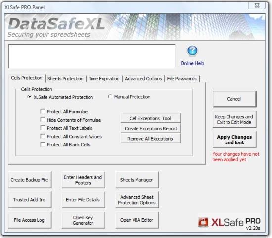 XLSafe PRO Screenshot