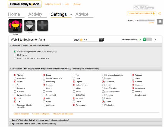 Norton Online Family Screenshot 6