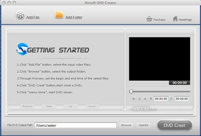 Ainsoft DVD Creator for Mac Screenshot 1