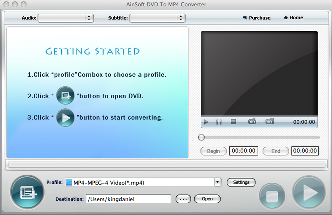 Ainsoft DVD to MP4 Converter for Mac Screenshot 1