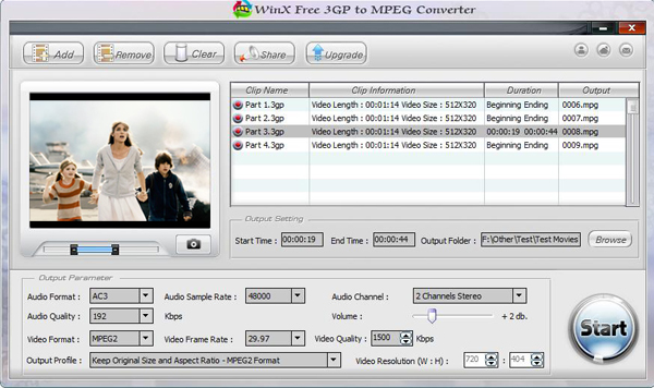 WinX Free 3GP to MPEG Converter Screenshot 1
