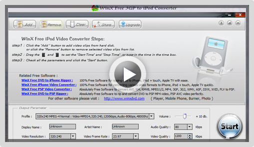 WinX Free 3GP to iPod Converter Screenshot