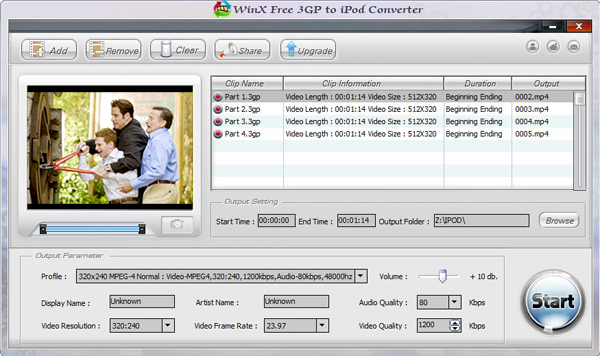 WinX Free 3GP to iPod Converter Screenshot 3