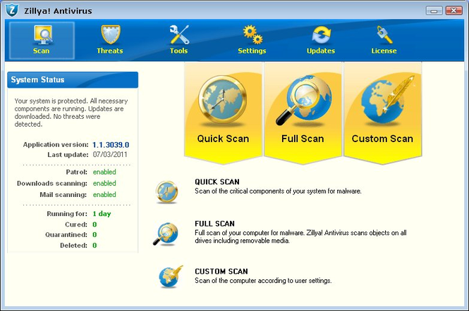 Zillya! Antivirus Screenshot