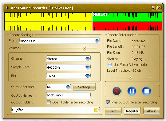 Ants Sound Recorder Screenshot 1