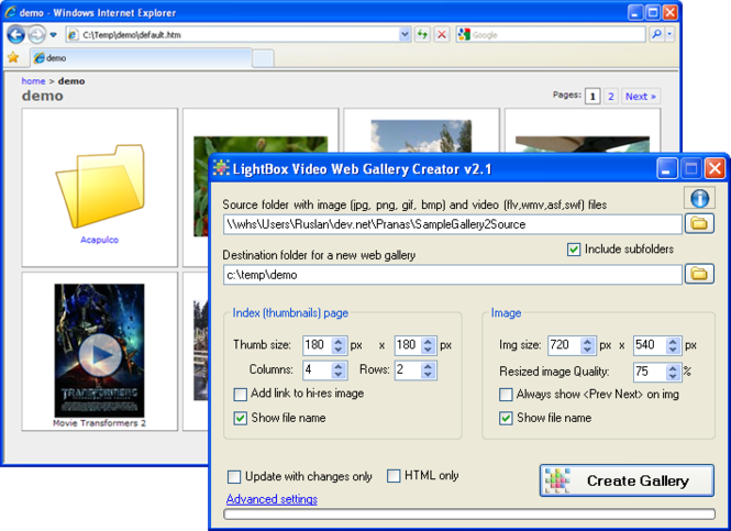 LightBox Video Web Gallery Creator Screenshot