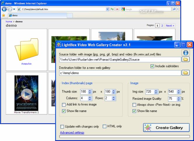 LightBox Video Web Gallery Creator Screenshot 2