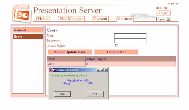 Presentation Server Screenshot 2