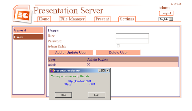Presentation Server Screenshot
