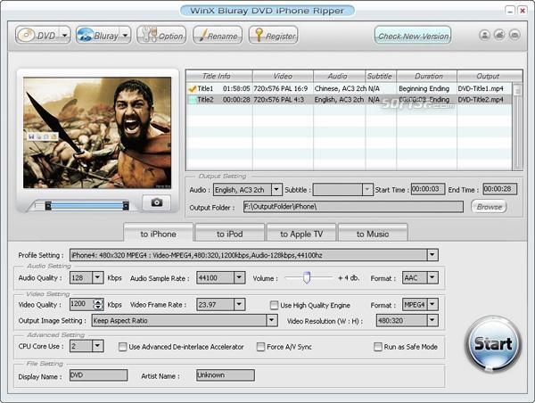 WinX DVD to iPhone Ripper Screenshot 2