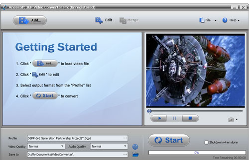 Aneesoft 3GP Video Converter Screenshot