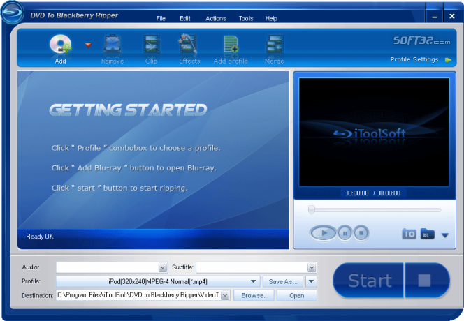iToolSoft DVD to Blackberry Ripper Screenshot 1
