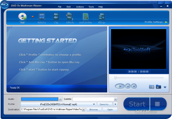 iToolSoft DVD to Walkman Ripper Screenshot 1