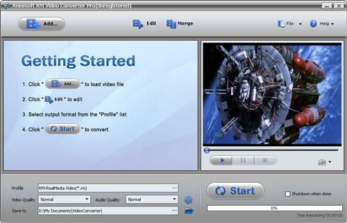 Aneesoft RM Video Converter Screenshot