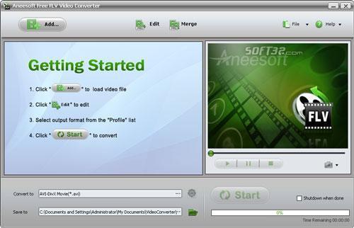 Aneesoft FLV Video Converter Screenshot 2