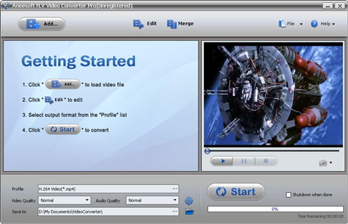 Aneesoft FLV Video Converter Screenshot