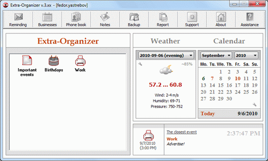 Extra-Organizer Screenshot