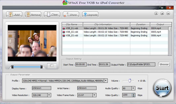 WinX Free VOB to iPod Converter Screenshot