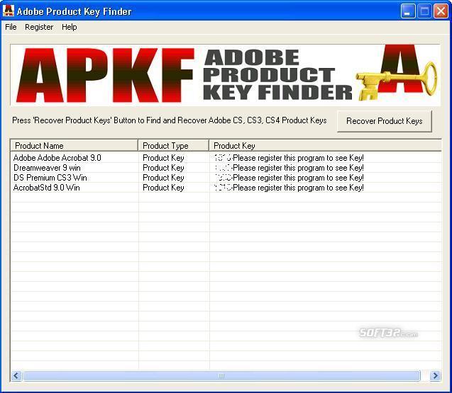 APKF Adobe Product Key Finder Screenshot 2