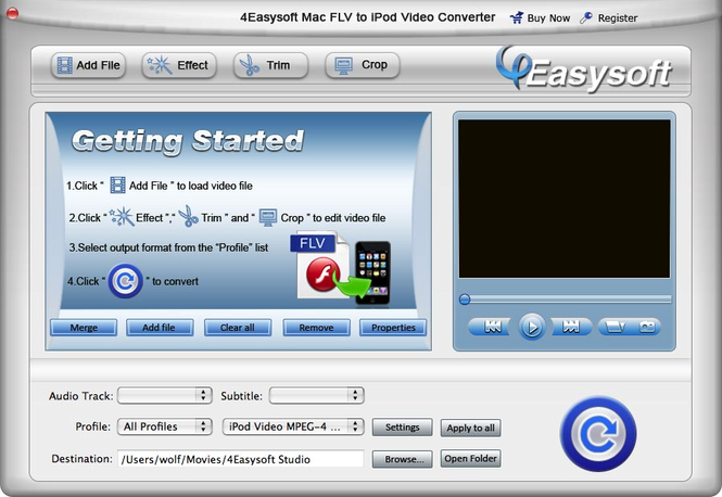 4Easysoft Mac FLV to iPod VideoConverter Screenshot