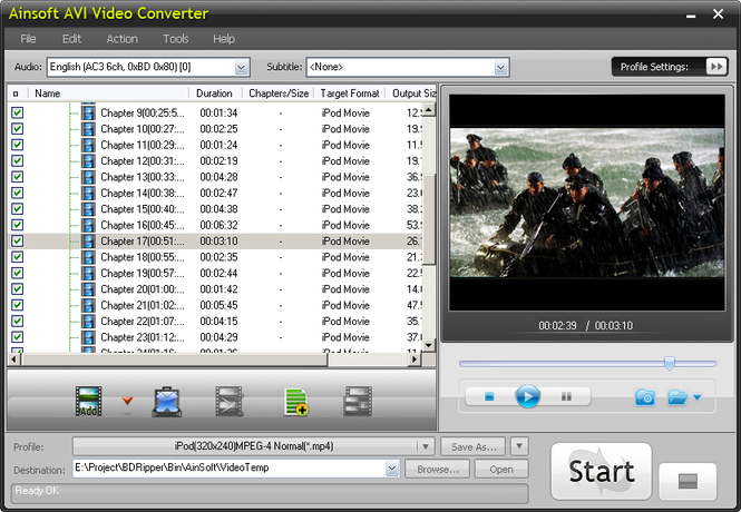 Ainsoft AVI Video Converter Screenshot