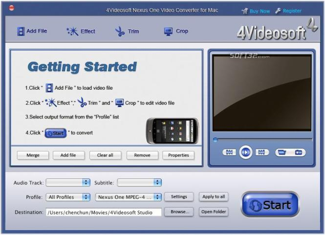 4Videosoft Mac Nexus One Video Converter Screenshot 2