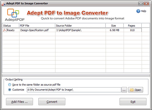 Adept PDF to Image Converter Screenshot 1