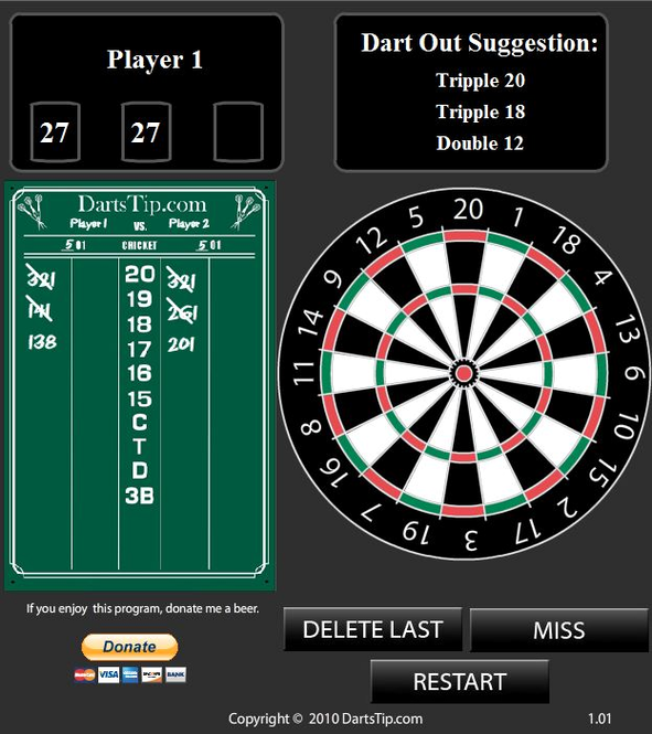 Dartstip.com Darts Calculator Screenshot