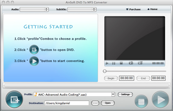 Ainsoft DVD to MP3 Converter for Mac Screenshot