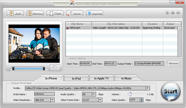WinX Free Apple Video Converter Screenshot
