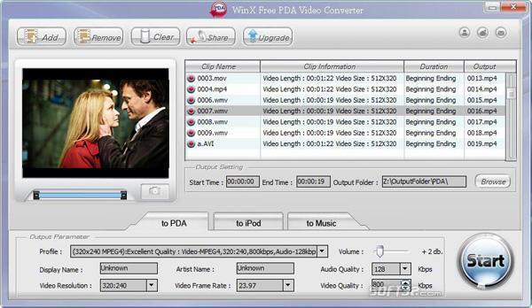WinX Free PDA Video Converter Screenshot 2