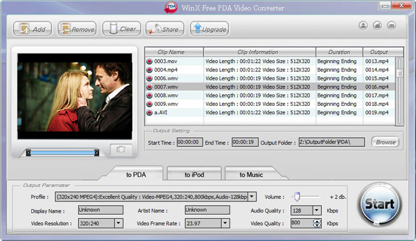 WinX Free PDA Video Converter Screenshot
