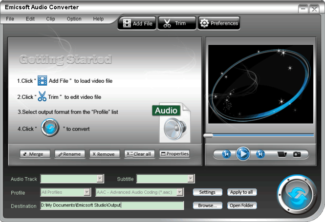 Emicsoft Audio Converter Screenshot 1