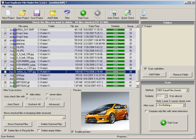 Fast Duplicate File Finder Screenshot