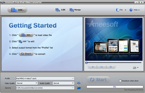 Aneesoft Free iPad Video Converter Screenshot 1