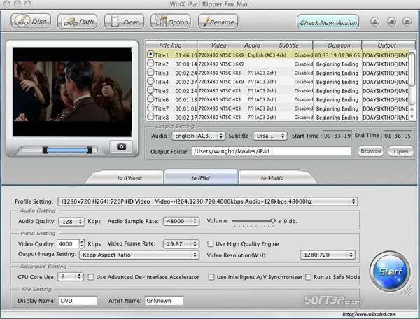 WinX iPad Ripper for Mac Screenshot 2