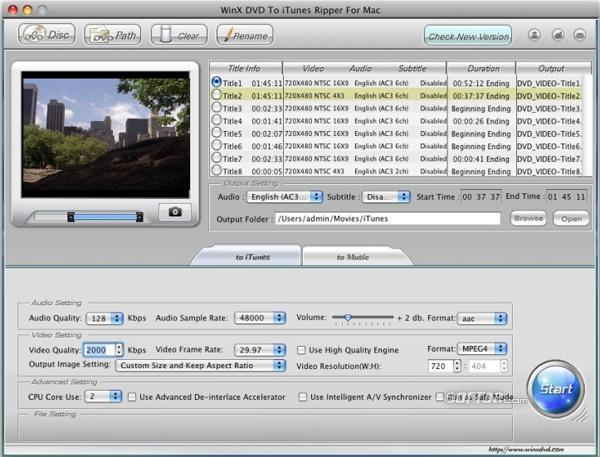 WinX DVD to iTunes Ripper for Mac Screenshot 2