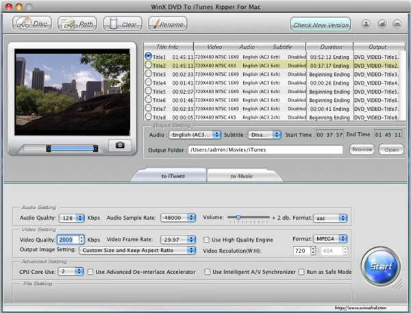 WinX DVD to iTunes Ripper for Mac Screenshot