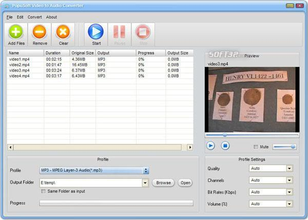PopuSoft Video to Mp3 Converter Free Screenshot 2