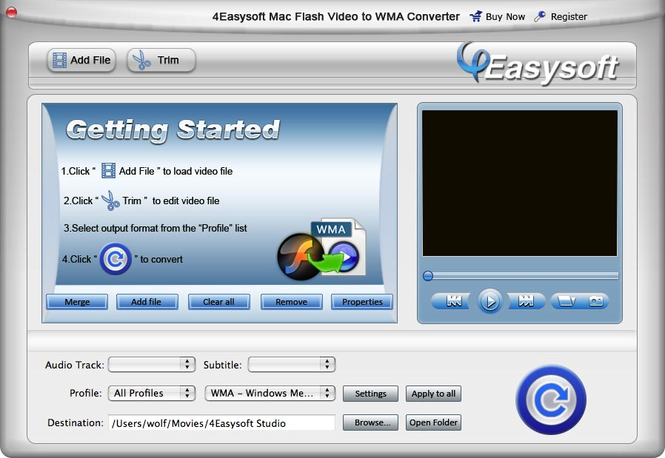 4Easysoft Mac Flash Video toWMAConverter Screenshot