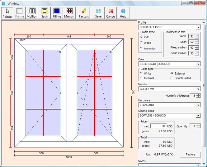 PVC Windows Designer Screenshot