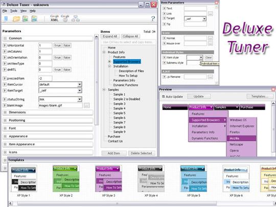 JavaScript DHTML Menu Screenshot