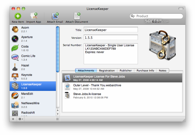 LicenseKeeper Screenshot