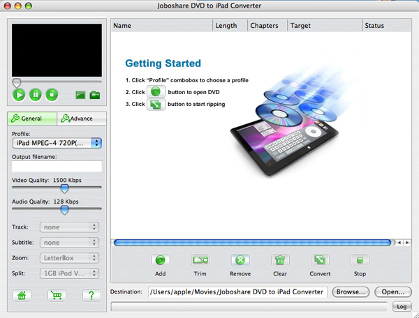 Joboshare DVD to iPad Converter for Mac Screenshot
