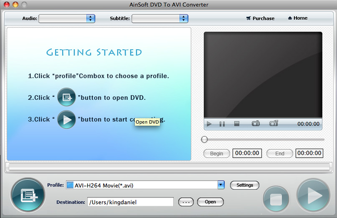 Ainsoft DVD to AVI Converter for Mac Screenshot