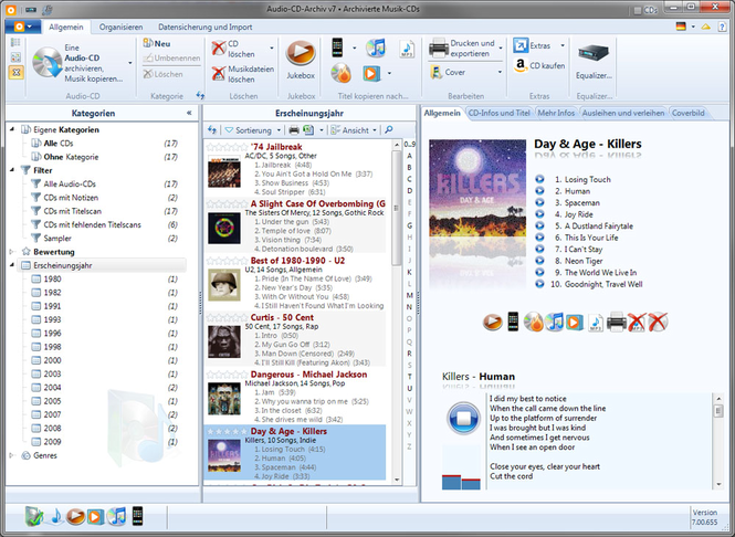Audio-CD-Archiv v7 Screenshot 1