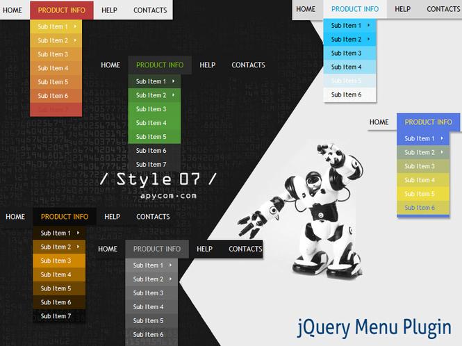 jQuery Menu Plugin Style 07 Screenshot