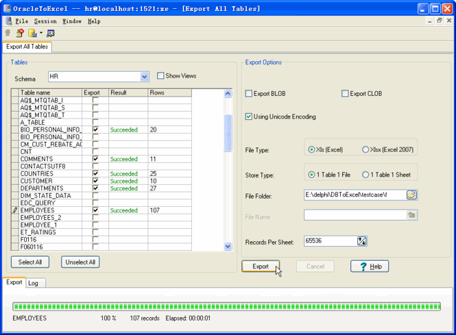 Withdata OracleToExcel Screenshot